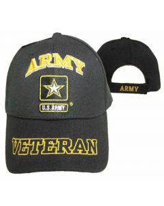 "United States ""ARMY"" Hat w/Star ""VETERAN"" Bill-BK CAP591EA"