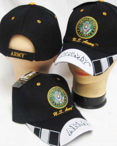 United States Army Military Hat Seal Two-Tone Black Tip Bill CAP601E