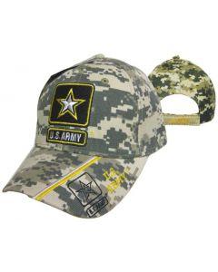 ARMY HAT STAR W/US ARMY ON BILL CAMO CAP601LC