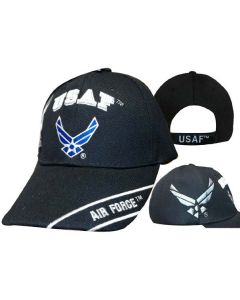 United States Air Force Hat ''USAF'' w/Wings&Shadow-BK CAP603TB