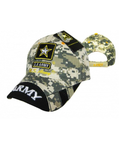 United States Army Military Hat Star Digital /Two-Tone Black Bill CAP601UC