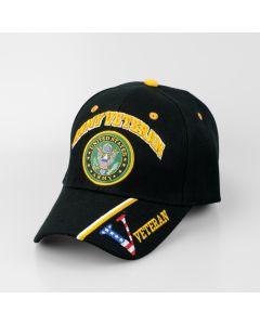 "United States Army Hat ""ARMY VETERAN"" Seal V/Flag on Bill-BK CAP591B"