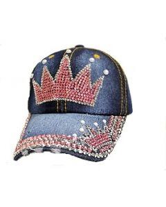Rhinestone Hat - Pink Double Crown Denim- 18472