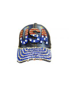 Rhinestone Hat  -  USA Denim - New Design