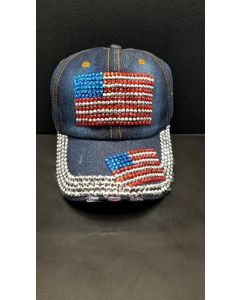 Rhinestone Hat  -  USA Two Flags Denim- 18469