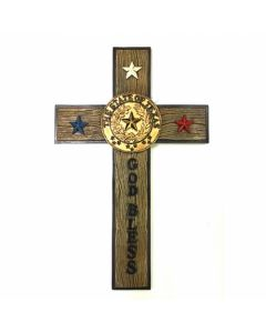 Texas Decor - Poly State Of Texas/God Bless Cross C60190