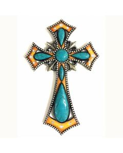 Texas Decor - Poly Turquoise Cross YC171046