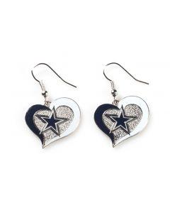 NFL Dallas Cowboys Earrings Heart Swirl