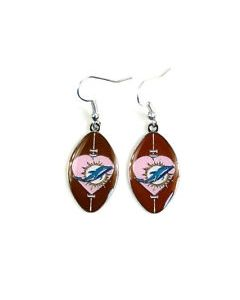 NFL Miami Dolphins Earring Heart Football