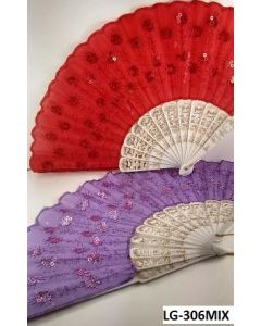 Fan LG-306 MIX White/Sequin SOLD BY THE DOZEN