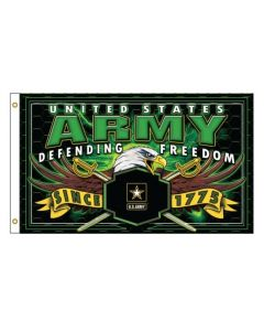 Flag - U.S. Army Defending Freedom 3X5(Green Text)