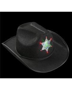 Cowboy Hat with Light-up Sheriff Badge