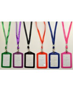 ID Holder 67742 Asst. Color Lanyard Vertical/Leather SOLD BY DOZEN