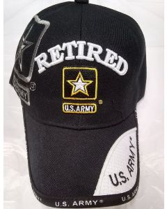 United States Army Hat Retired With Star Logo - Black