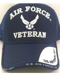 "United States ""AIR FORCE VETERAN"" Military Hat w/Wings - Blue"