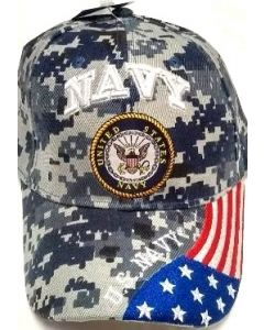 United States Navy Military Hat Digi Seal Logo/US Flag Bill CAP602GC