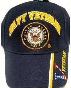 "United States Navy Military Hat NAVY VETERAN ""V/Flag"" on Bill CAP592BX"
