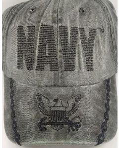 United States Navy Hat Washed Cotton Back Stitch Embroid CAP596CMG