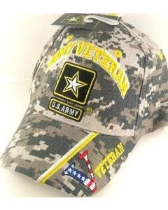 "United States Army Hat ""ARMY VETERAN"" Star V/Flag on Bill-Camo CAP591KC"