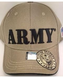"United States ""ARMY"" Hat With Seal - Khaki (Large Black Text) A04ARM08-KHK/BK"