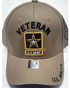 United States Army VETERAN Hat with Star Logo - Khaki A04ARV01 KHK/BK