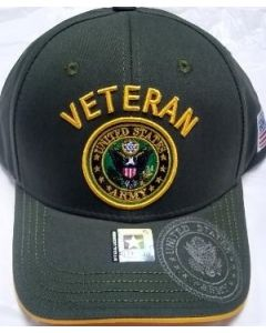 United States Army Hat Veteran with U.S. Army Seal - A04ARV02 OLV/GLD