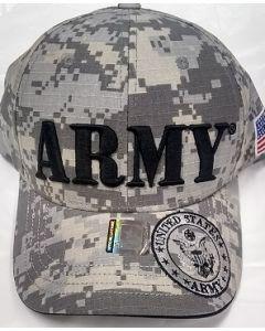"""United States """"ARMY"""" Hat w/Seal - Digital (LG BLK Text Embroid.) A04ARM08-ACM/BK"""