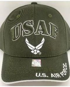"United States Air Force Hat ""USAF'' w/Wings - Olive A04AIA04-OLV/WHT"