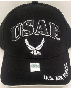 "United States Air Force Hat ""USAF'' w/Wings - Black A04AIA04-BK/WHT"