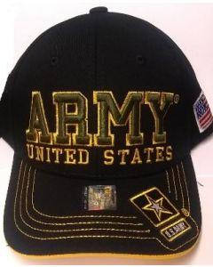 "United States Army Hat ""ARMY''(OliveText) Star Logo Bill-A04ARM09-BK/GD"