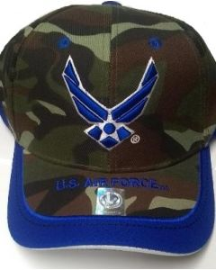 United States Air Force Hat Royal Blue Wings & Stripe Bill A03AIR02-CAMO