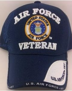 United States Air Force Veteran hat with Seal Blue TwoTone Bill
