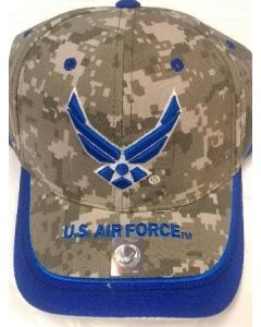 United States Air Force Hat Royal Blue Wings and Stripe Bill A03AIR02-OCM/WHT