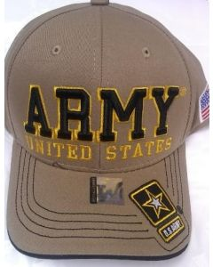 "United States Army Hat ""ARMY''(BK/GD TXT) Star Logo Bill-A04ARM09-KHK/BK"