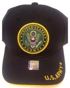United States Army Hat with Woven Seal - A03ARM03 BK/GD