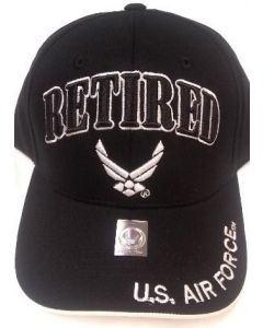 United States Air Force RETIRED Hat with Wings Logo - BK A04AIR01 BK/WHT