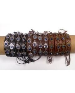 Fashion - Jewelry - Leather Eye Bracelet  BRC-4660 SOLD BY THE DOZEN