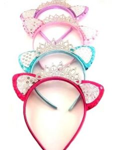 Head Band - Cat Ear w/Crown HBD-3556 SOLD BY THE DOZEN