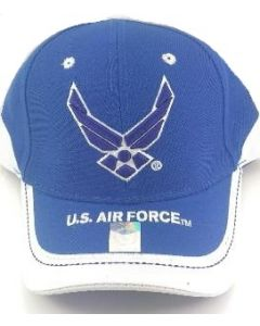 United States Air Force Hat Royal Blue Wings and Stripe Bill A03AIR02-ROY/WT