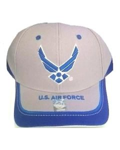 United States Air Force Hat Royal Blue Wings and Stripe Bill A03AIR02-LGY/WT