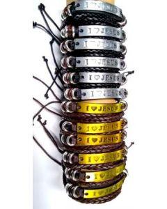 Fashion  Jewelry- I Love Jesus Leather Bracelet BRC3994 SLD BY DZ