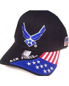 United States Air Force Hat Wings w/Flag Bill-A04AIA26-BLK