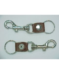 KC (Keychain) - 6693 Metal Clip Brown Leather SOLD BY DOZEN
