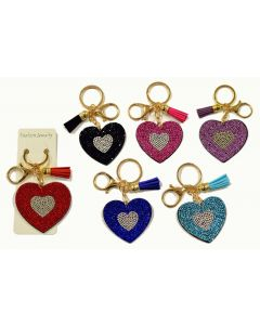 KC (Keychain) 69008 Bling Heart SOLD BY THE DOZEN