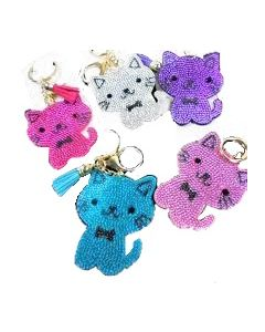 KC (Keychain) 69023 Bling Cute Cat SOLD BY THE DOZEN