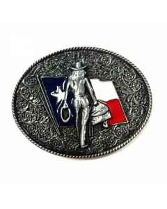 Texas Decor - Cowgirl/TX Flag Metal Magnet