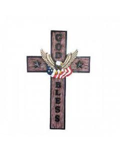 Texas Decor - Poly God Bless/Eagle Cross C60209
