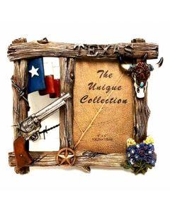 """Texas Decor - Poly """"Texas Gun & Skull"""" Picture Frame C60343"""