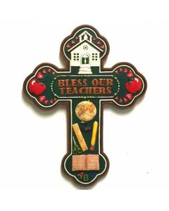 "Texas Decor - Poly ""Bless Our Teachers"" Cross XF-R0013"