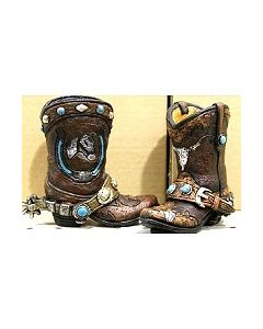Texas Decor - Poly Horse Head w/ Horseshoe Boot Set YC102166